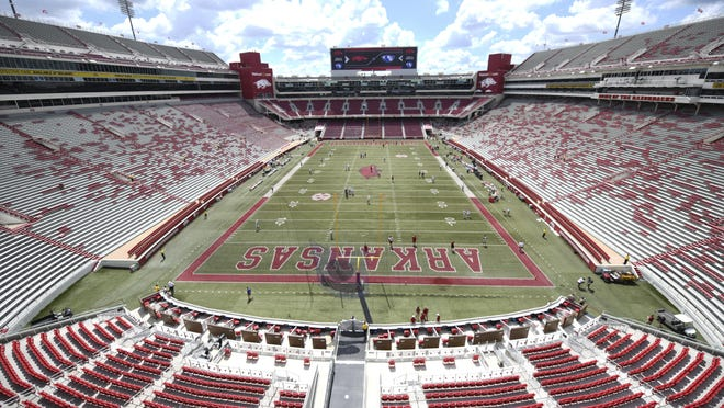 A view from the new patio on the north end zone expansion of Donald W. Reynolds Razorbacks before the start of an NCAA college football game Saturday, Sept. 1, 2018, in Fayetteville, Ark. A $160 million renovation and expansion of the stadium added an additional 4,800 seats and new premium seating to the north end zone.