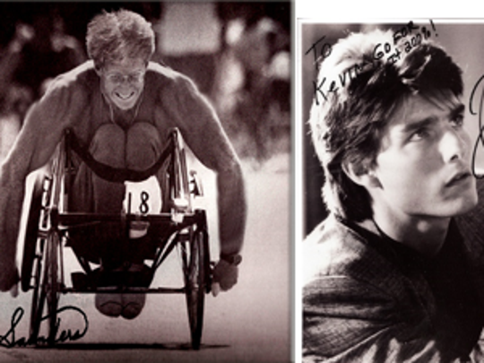 "Paralympian Kevin Saunders signed an autograph to ""Mission Impossible"" star Tom Cruise while working on the 1989 film ""Born on the Fourth of July."""