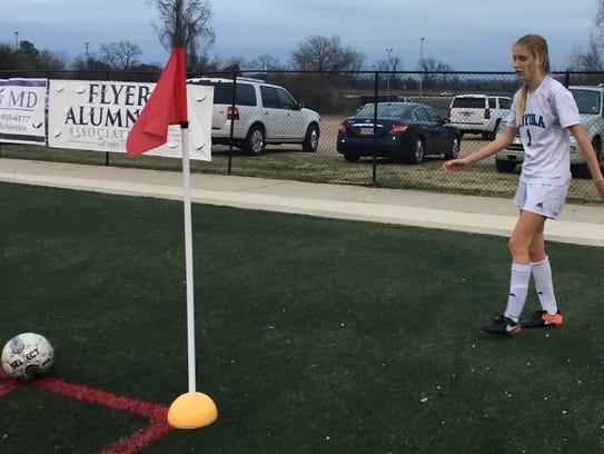 Loyola's Kalli Matlock prepares for a corner kick in