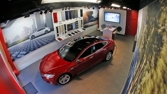 The Tesla gallery in Fort Worth in February 2016. Test drives will be available by appointment only. Customers custom-order their vehicle online, with exactly the features they want.