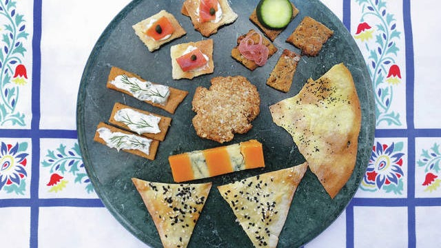 Homemade crackers can be served with an assortment of toppings. Photo by Hillary Levin/St. Louis Post-Dispatch/TNS