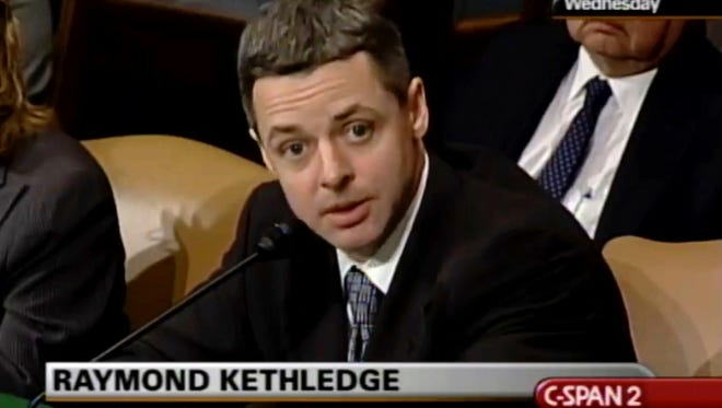 In an image from video provided by C-SPAN, Raymond Kethledge testifies during his confirmation hearing for the Sixth U.S. Circuit Court on Capitol Hill in Washington in May 2008.