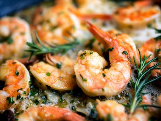 Shrimp scampi is often served during the Feast of the