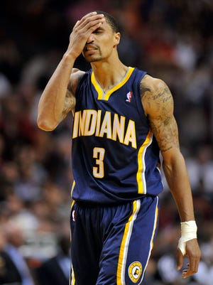 Pacers guard George Hill shows his frustration during the