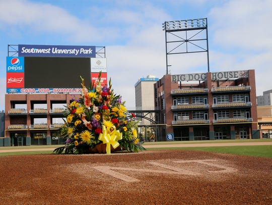 Flowers were placed on teh field at Southwest University