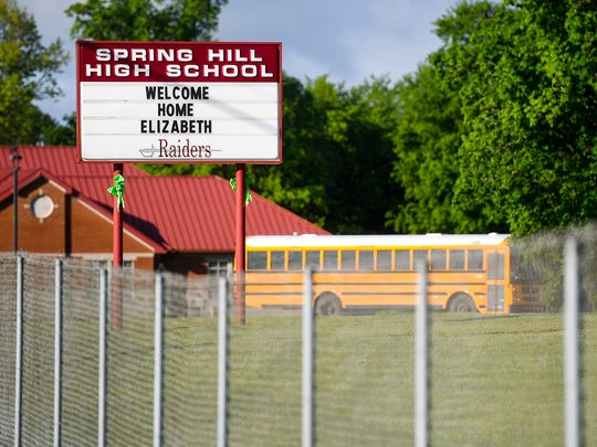 The sign at Spring Hill High School in Columbia, Tenn., welcomes Elizabeth Thomas home.