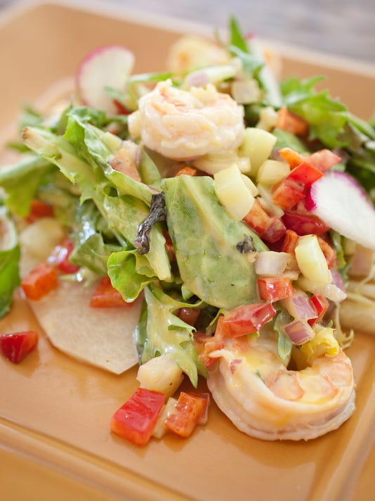 Jicama tostada with shrimp salad at Los Sombreros