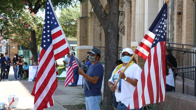 Protesters gather outside the federal courthouse in downtown Waco to show support for Fort Hood soldier Vanessa Guillen. Cecily Ann Aguilar, 22, of Killeen appeared in court Tuesday. She is charged with conspiracy to tamper with evidence.