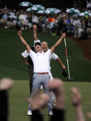 Adam Scott celebrates after making his putt on the 2nd playoff hole to win The Masters. With the next golf season just around the corner, here are some awards from the year that was.
