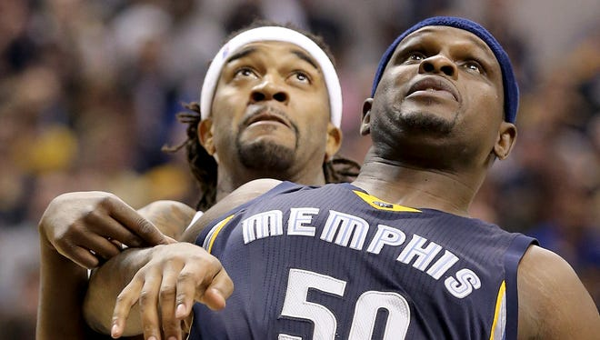 Memphis Grizzlies forward Zach Randolph (50) boxes out Indiana Pacers center Jordan Hill (27) in the first half of their game. The Indiana Pacers play the Memphis Grizzlies in their home opener Thursday, October 29, 2015, at Bankers Life Fieldhouse.