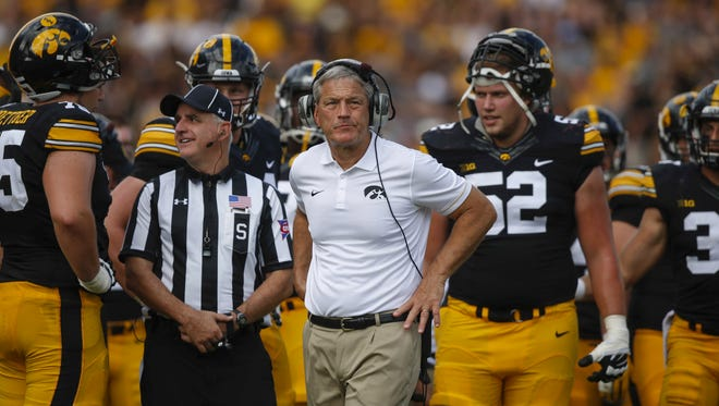 Iowa head coach Kirk Ferentz watches a replay against Miami (Ohio) on Saturday, Sept. 3, 2016, at Kinnick Stadium in Iowa City.