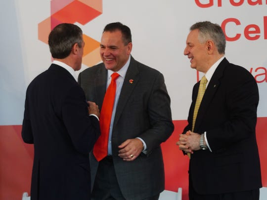 Gov. John Carney shakes hands with Mark Vergnano, president and CEO of Chemours, after Vergnano made the announcement in 2017 that they will be calling Chemour's site on the University of Delaware's STAR campus the Discovery Hub. Dennis Assanis, president of the University of Delaware, stands alongside.