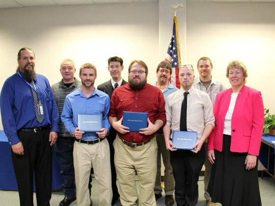 Moraine Park Technical College's Manufacturing Skills Academy CNC boot camp graduates. Front row, from left: Instructor Troy Niemuth, Taylor Reed, Jason Ungart, Brain Beyer and President Bonnie Baerwald. Back row, from left: Michael Olson, James Hutchinson, James Jungwirth, Ryan Schmallenberg.