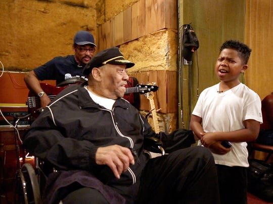 "Benjamin ""Lil P-Nut"" Flores encounters the great Bobby ""Blue"" Bland in the Memphis music showcase documentary ""Take Me to the River."""