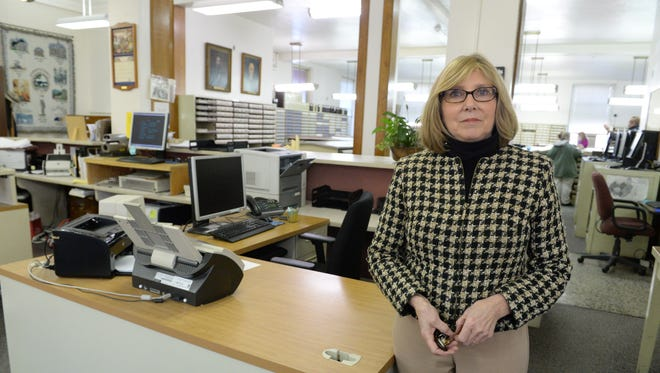 Circuit Court Clerk Carol Brydge describes features and limitations of the Augusta County Courthouse in downtown Staunton Friday, Feb. 13, 2015.