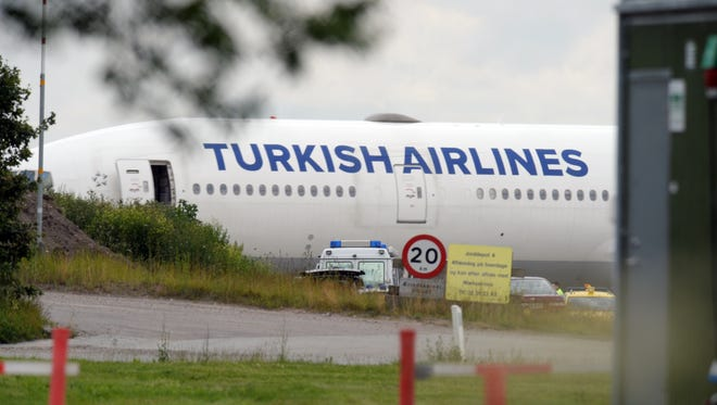 A Turkish Airlines plane is seen at Copenhagen Airport on June 25, 2015.