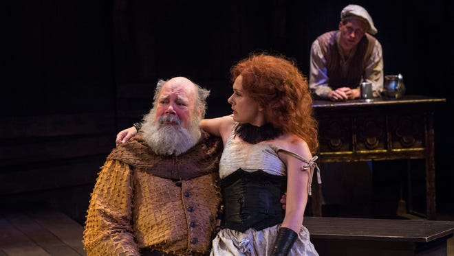 """John Ahlin plays Sir John Falstaff, Saren Nofs-Snyder plays Doll Tearsheeet and Eric Weiman plays Shadow in the Utah Shakespeare FestivalÕs 2015 production of """"King Henry IV Part Two."""""""