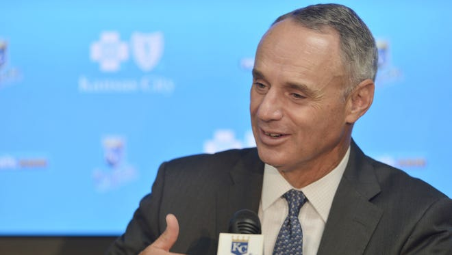 MLB commissioner Manfred addressed the media at the All-Star Game in Cincinnati.