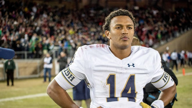 Nov 28, 2015: Notre Dame Fighting Irish quarterback DeShone Kizer (14) reacts after the Stanford Cardinal defeated Notre Dame 38-36 at Stanford Stadium.