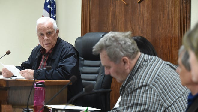 Council members listen as Mountain Home Mayor Joe Dillard gives his State of the City address during Thursday night's city council meeting.