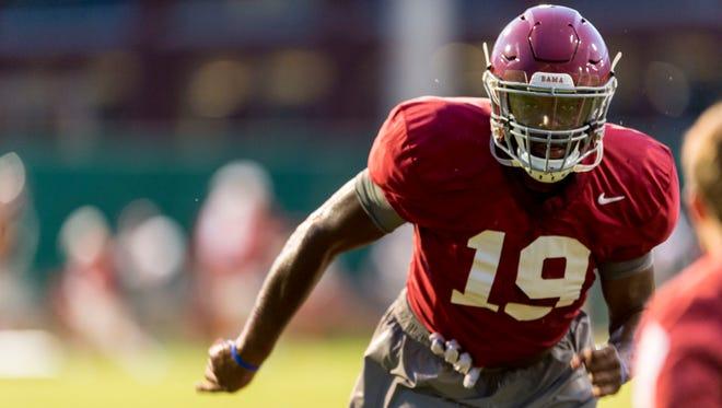 In this Aug. 17, 2015, file photo, Alabama linebacker Reggie Ragland.