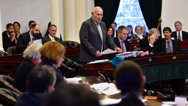 Sen. Dick Sears, D-Bennington, speaks in favor of the marijuana legalization bill at the Statehouse in Montpelier on Wednesday, February 24, 2016.