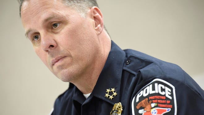 "Murfreesboro's new police chief James ""Karl"" Durr started the job on April 4, and talks to the Tennessean at the Millennium Maxwell House April 22, 2016 in Nashville, Tenn."