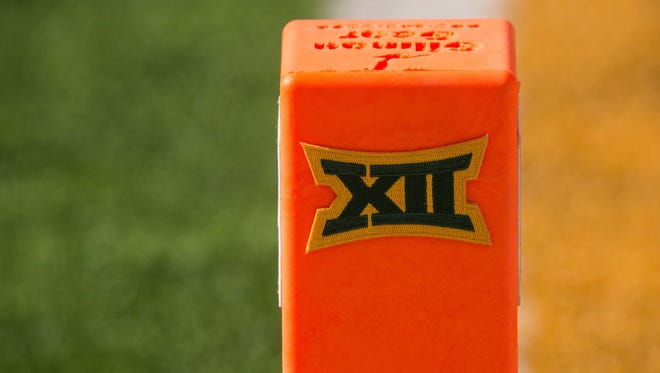 A view of the Big 12 logo on a touchdown pylon. According to Chip Brown of HornsDigest.com, the Big 12 has decided not to expand.