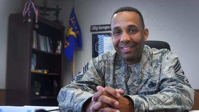 Chief Master Sgt. Barrington Bartlett, the 49th Wing command chief, poses for a portrait in his office at Holloman Air Force Base on June 27. Bartlett, who formerly served as the 56th Maintenance Group superintendent at Luke Air Force Base, Ariz., is Holloman's newest command chief.