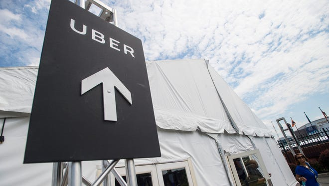 The Uber tent at the 2016 Democratic National Convention at Philadelphia's Wells Fargo Arena.