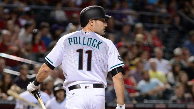 A.J. Pollock #11 of the Arizona Diamondbacks looks back to the field after striking out in the first inning against the Cincinnati Reds at Chase Field on August 26, 2016 in Phoenix, Arizona.