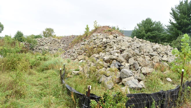 A large pile of rubble at the Texaco Research Station.