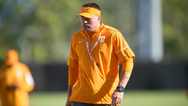 Tennessee coach Butch Jones at practice on Oct. 11.