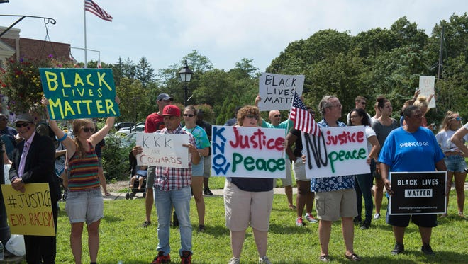 Black Lives Matter supporters in Westhampton Beach, N.Y., on Aug. 21, 2016.