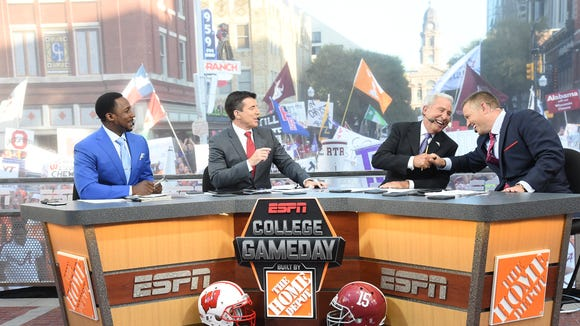 Fort Worth, TX - September 5, 2015 - Sundance Square: (L to R) Desmond Howard, Rece Davis, Lee Corso and Kirk Herbstreit on the set of College GameDay Built by the Home Depot