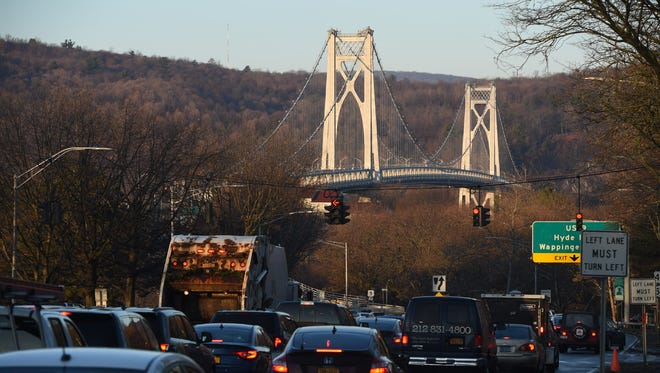 Cars lined up on the westbound approach of the Mid-Hudson Bridge in Poughkeepsie on Wednesday.