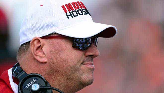 FILE — IU offensive line coach Greg Frey is reportedly headed to join Jim Harbaugh's staff at Michigan.