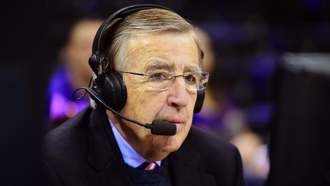 In this Jan. 30, 2016, photo provided by ESPN, Brent Musburger works a college basketball game between LSU and Oklahoma in Baton Rouge, La. Musburger is calling an end to his broadcast career. Millions of Americans experienced sporting events through his folksy narration, most often when he was the lead voice of CBS Sports during the 1980s. Musburger will call his last game for ESPN on Jan. 31, a college basketball contest pitting Kentucky against Georgia.