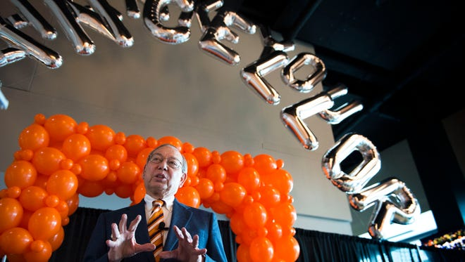 University of Tennessee Chancellor Jimmy Cheek speaks to the media at a party celebrating his return to teaching after eight years in the chancellor position in Neyland Stadium Wednesday, Feb. 8, 2017.