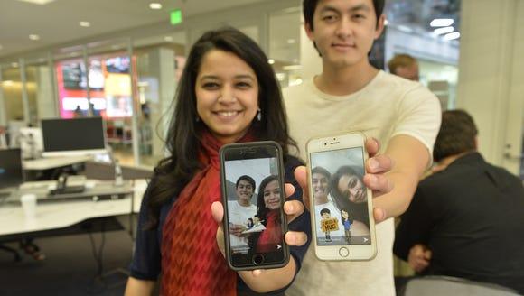 USC students Disha Raychaudhuri and Cameron Quon show
