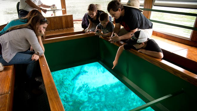 Jay Hulse (right), 11, and his brother, Kenneth, 8, identify fish in the Silver River as they take a glass-bottom boat tour with their parents, Katie and Alan Hulse, all of Sebastian, during their spring break at Silver Springs State Park on March 23, 2017, in Ocala.