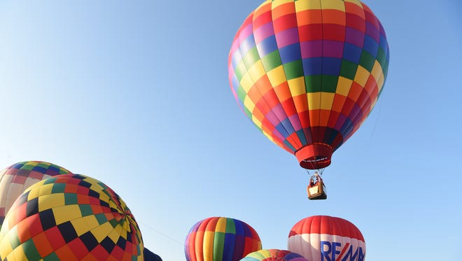 A view of the 6 a.m. hot-air balloon launch during the second day of the Hudson Valley Hot-Air Balloon Festival, held at Barton Orchards in Poughquag.