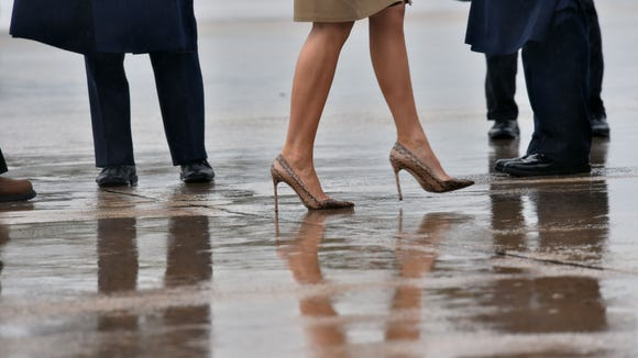 First lady Melania Trump boards Air Force One on September 2, 2017, at Andrews Air Force Base in Maryland.