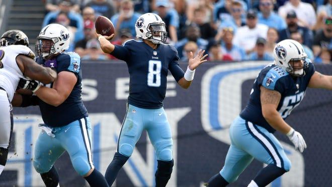 Titans quarterback Marcus Mariota (8) throws during the first half at Nissan Stadium Sunday, Nov. 5, 2017 in Nashville, Tenn.