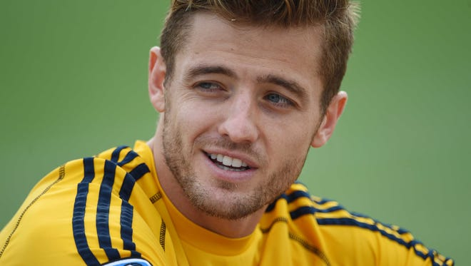 In a file photo from 2014, Los Angeles Galaxy defender Robbie Rogers after practice in preparation for the MLS Cup against the New England Revolution at StubHub Center.
