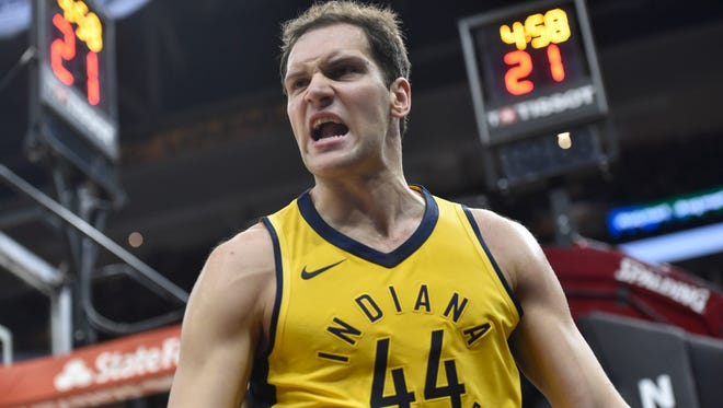 iIndiana Pacers forward Bojan Bogdanovic (44) reacts in the first quarter against the Cleveland Cavaliers in game one of the first round of the 2018 NBA Playoffs at Quicken Loans Arena.