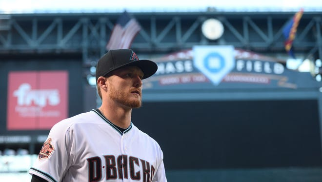 Apr 20, 2018; Phoenix, AZ, USA; Arizona Diamondbacks starting pitcher Shelby Miller (26) looks on prior to the first inning against the San Diego Padres at Chase Field. Mandatory Credit: Joe Camporeale-USA TODAY Sports