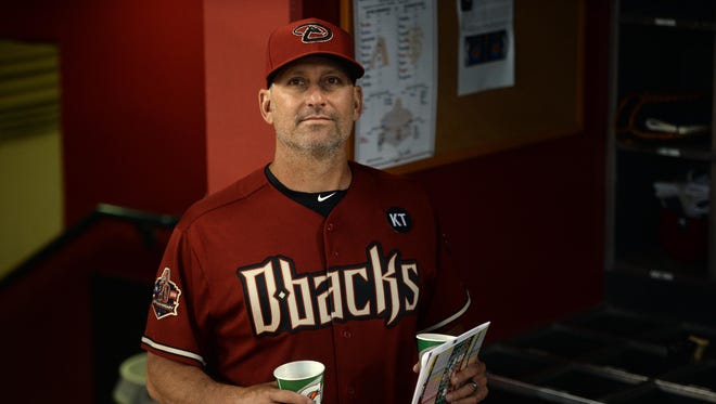 Aug 2, 2018: Arizona Diamondbacks manager Torey Lovullo (17) walks in the dugout prior to the game against the San Francisco Giants at Chase Field.