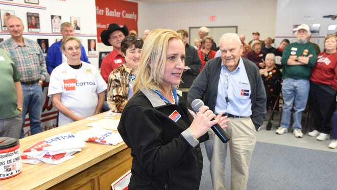 Arkansas Attorney General Leslie Rutledge addresses the crowd at a Mountain Home event in this file photo.