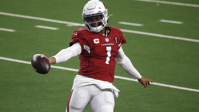 Arizona Cardinals' Kyler Murray celebrates running the ball for a touchdown in the Cardinals' 38-10 win over the Dallas Cowboys on Monday. The former Oklahoma star improved to 7-0 as a starter at AT&T Stadium.